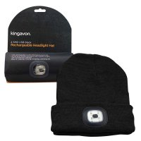 Kingavon Rechargeable Headlight Hat 4 SMD USB - Black