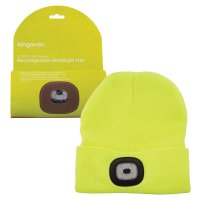 Kingavon Rechargeable Headlight Hat 4 SMD USB - Yellow