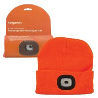 Kingavon Rechargeable Headlight Hat 4 SMD USB - Orange
