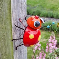 Crazee Ladybug Large Cute Bright Decorative Indoor or Outdoor Garden Wall Art