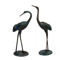 Solstice Sculptures Cranes Pair Medium 71 & 63cm in Dark Verdigris