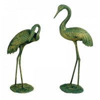 Solstice Sculptures Cranes Pair 77 & 61cm in Gold Verdigris