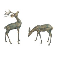 Solstice Sculptures Deer Pair Small 56 & 33cm in Gold Verdigris