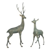 Solstice Sculptures Deer Pair Large 120 & 79cm in Gold Verdigris