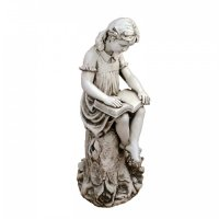 Solstice Sculptures Mary Reading Girl 89cm in Antique Stone Effect