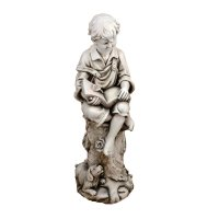 Solstice Sculptures Matthew Reading Boy 88cm in Antique Stone Effect