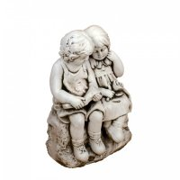 Solstice Sculptures Jack & Jill Sitting 56cm in Antique Stone Effect