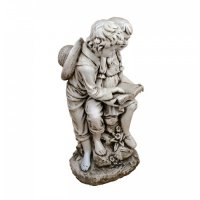 Solstice Sculptures Jack & Jill Reading 88cm in Antique Stone Effect