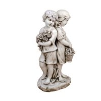 Solstice Sculptures Jack & Jill Standing 89cm in Antique Stone Effect
