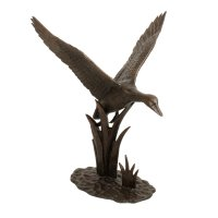 Solstice Sculptures Duck in Flight 69cm in Dark Verdigris