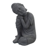 Solstice Sculptures Buddha Crouching 58cm in Charcoal Effect