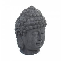 Solstice Sculptures Buddha Head 42cm in Charcoal Effect