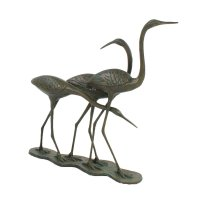Solstice Sculptures Egrets 58cm in Dark Verdigris