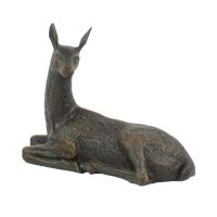 Solstice Sculptures Deer Lying Small 30cm in Dark Verdigris