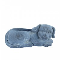 Solstice Sculptures Dog Planter 15cm in Blue Iron Effect