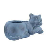 Solstice Sculptures Cat Planter 15cm in Blue Iron Effect