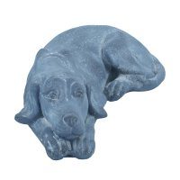 Solstice Sculptures Dog Lying 15cm in Blue Iron Effect