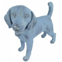 Solstice Sculptures Dog Standing 34cm in Blue Iron Effect