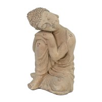 Solstice Sculptures Buddha Crouching 37cm in Weathered Stone Effect