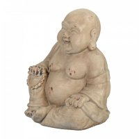 Solstice Sculptures Buddhist Monk 34cm in Weathered Stone Effect