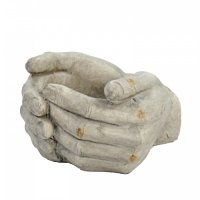 Solstice Sculptures Cupped Hands Planter 19cm in Weathered Light Stone Effect