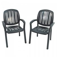 Nardi Classic Ponza Stacking Chairs (Set of 2) - Anthracite