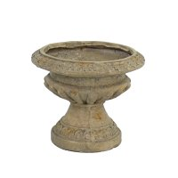 Solstice Sculptures Fluted Urn Low 28cm in Weathered Dark Stone Effect