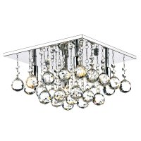 Dar Abacus 4 Light 300mm Square Flush Polished Chrome