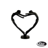 Elur Heart Couple Iron Figurine 15cm Mocha