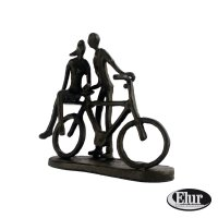 Elur Couple with Bicycle Iron Figurine 14cm Mocha