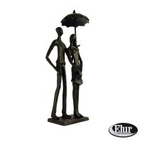 Elur Umbrella Couple Standing Iron Figurine 25cm Mocha