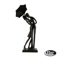 Elur Umbrella Couple Courting Iron Figurine 21cm Mocha