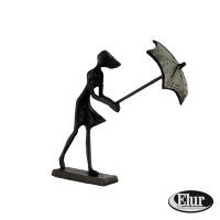 Elur Umbella Girl in Wind Iron Figurine 15cm Mocha
