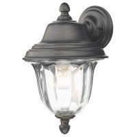Dar Aldgate Wall Light Outdoor Black Gold IP44