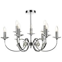 Dar Allegra 9 Light Dual Mount Pendant Polished Chrome