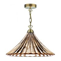 Dar Ardeche 1 Light Large Pendant Amber Glass/Antique Brass Finish