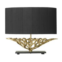 David Hunt Basket Table Lamp Complete with Black Silk Oval Shade