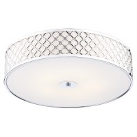 Dar Civic 5 Light Flush Large Ceiling Light Polished Chrome