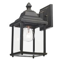 Dar Doyle Wall Bracket Lantern Black Gold IP44