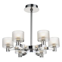 Dar Eton 6 Light Semi Flush Ceiling Light in Polished Chrome/ Satin Chrome