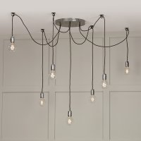 David Hunt Huckleberry 7 Light Cluster Pendant Lead Grey