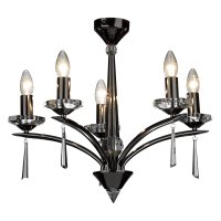 Dar Hyperion 5 Light Dual Mount Pendant Black Chrome