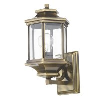 Dar Ladbroke Lantern Antique Brass with Bevelled Glass IP44