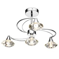 Dar Luther 4 Light Semi Flush Complete with Crystal Glass Polished Chrome