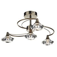 Dar Luther 4 Light Semi Flush with Crystal Glass Antique Brass