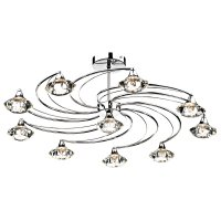 Dar Luther 10 Light Semi Flush Complete with Crystal Glass Polished Chrome