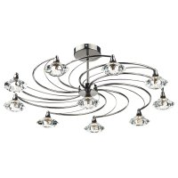 Dar Luther 10 Light semi Flush Complete with Crystal Glass Black Chrome