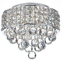 Dar Matrix 3 Light Flush Ceiling Light Polished Chrome