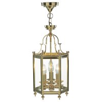 Dar Moorgate Hexagonal Hall Lantern Dual Mount Polished Brass