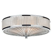 Dar Oslo 3 Light Flush Polished Chrome/ White